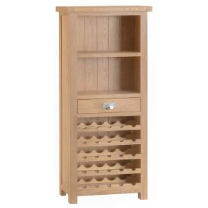 Langham Lime Washed Oak Furniture Wine Cabinet