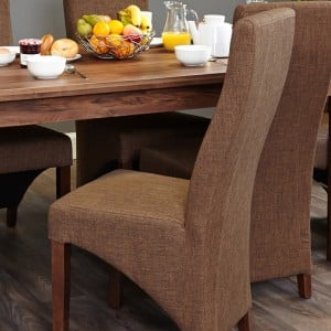 Mayan Walnut Furniture Hazelnut Fabric Dining Table Chair Pair