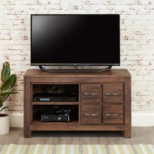 Mayan Walnut Furniture Four Drawer Television Cabinet