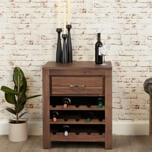 Mayan Walnut Furniture Wine Rack Lamp Table