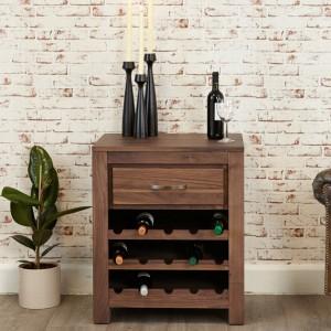 Mayan Walnut Furniture Wine Rack Lamp Table