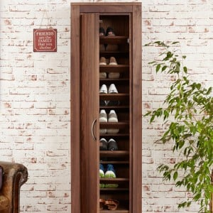 Mayan Walnut Furniture Tall Shoe Cupboard