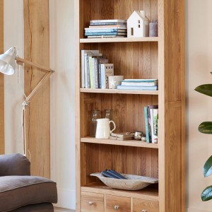 mobel oak furniture large 3 drawer bookcase