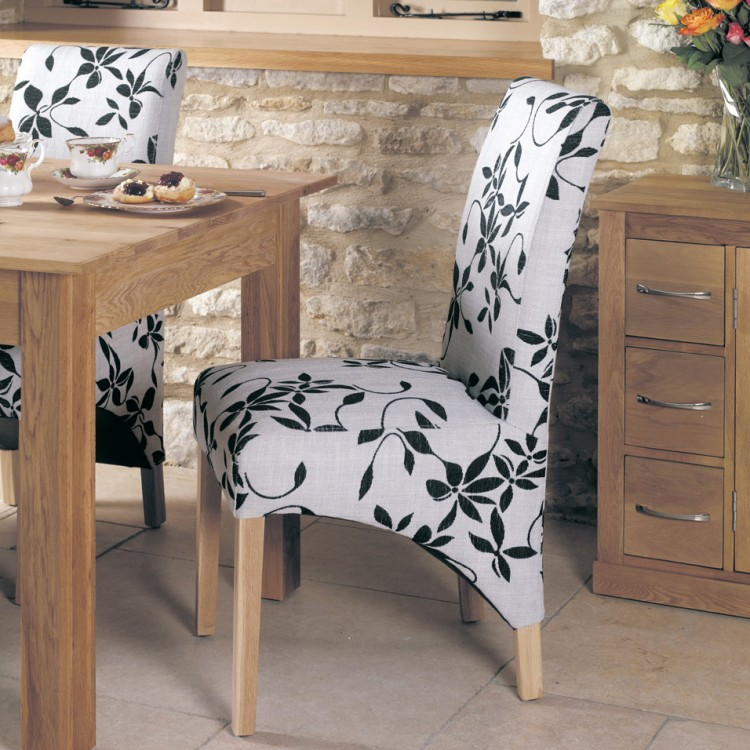 mobel oak furniture fabric dining table chair pair