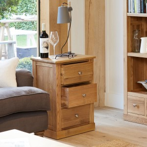 Mobel Oak Furniture Three Drawer Lamp Table
