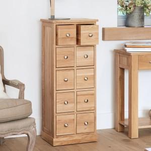 Mobel Oak Furniture Multi Drawer CD DVD Storage Chest
