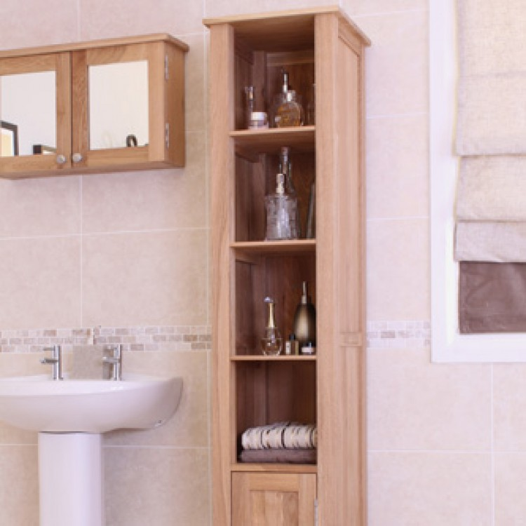 mobel oak furniture open tall bathroom unit