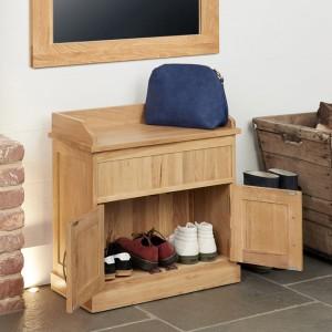 Mobel Oak Furniture Shoe Bench With Hidden Storage