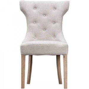 New Sherwood Oak Luxury Winged Button Back Chair & Ring - Beige (Pair)