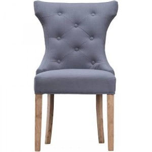 New Sherwood Oak Luxury Winged Button Back Chair & Ring - Grey (Pair)