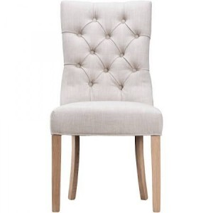 New Sherwood Oak Luxury Curved Button Back Chair - Beige (Pair)