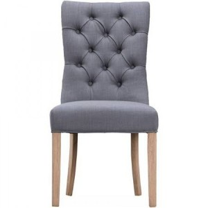 New Sherwood Oak Luxury Curved Button Back Chair - Grey (Pair)