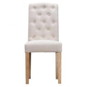 New Sherwood Oak Luxury Button Back Upholstered Chair - Beige (Pair)