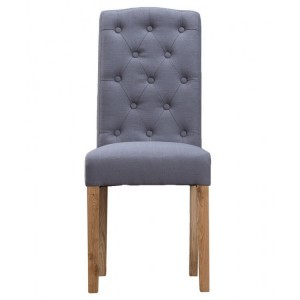 New Sherwood Oak Luxury Button Back Upholstered Chair - Grey (Pair)