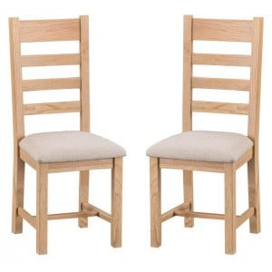 New Sherwood Oak Furniture Ladder Back Chair With Fabric Seat Pair