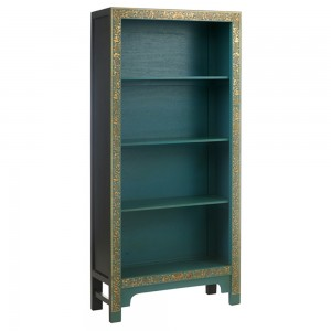 Nine Schools Oriental Furniture Blue Floral Decorated Large Bookcase