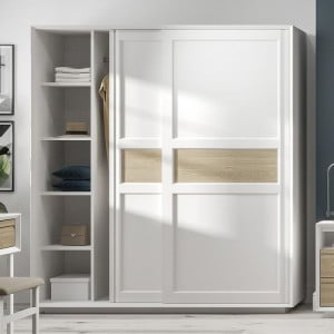 Corton Light Grey Painted Furniture Sliding Double Wardrobe