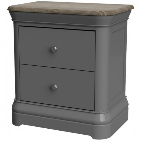 Pebble Slate Grey Painted Furniture 2 Drawer Bedside Cabinet
