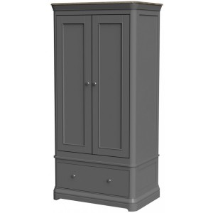 Pebble Slate Grey Painted Furniture Double Wardrobe with Drawer