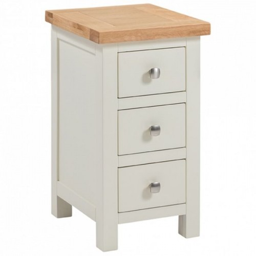 Dorset Ivory Painted Furniture 3 Drawer Narrow Bedside Table