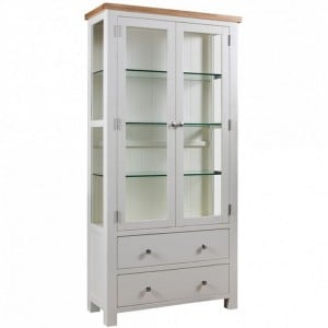 Devonshire Dorset Painted Oak Furniture Display Cabinet With Glass Doors