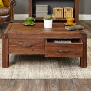 Shiro Walnut Furniture Four Drawer Coffee Table