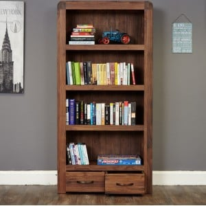 Shiro Walnut Furniture Large 2 Drawer Bookcase