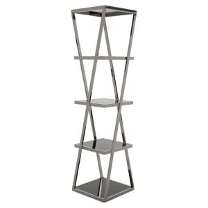 Ackley Chrome Finish Metal and Black Glass Shelf Unit
