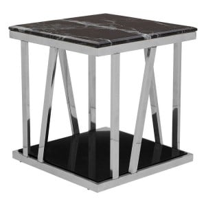 Ackley Silver Finish Metal Side Table With Black Marble Top