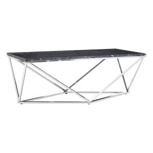 Allure Black Marble and Chrome Base Triangular Coffee Table