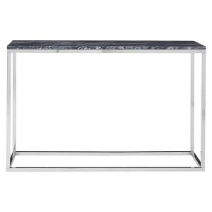 Allure Black Marble and Chrome Metal Console Table
