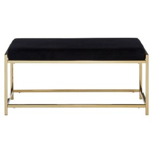 Allure Black Velvet Seat and Gold Finish Stainless Steel Frame Bench