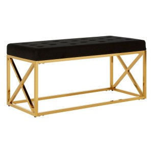 Allure Black Velvet Tufted Seat and Gold Finish Stainless Steel Bench