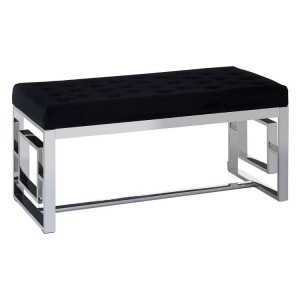 Allure Black Velvet Tufted and Silver Metal Bench