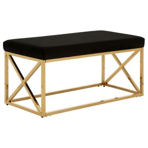 Allure Black Velvet and Gold Finish Metal Bench