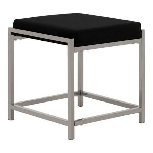 Allure Black Velvet and Silver Metal Stool