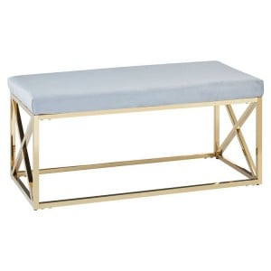 Allure Blue Velvet and Gold Finish Bench