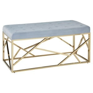 Allure Blue Velvet and Gold Finish Metal Frame Bench