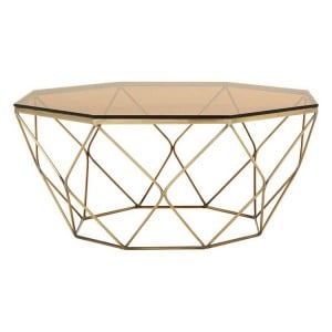 Allure Bronze and Tempered Glass Geometric Coffee Table