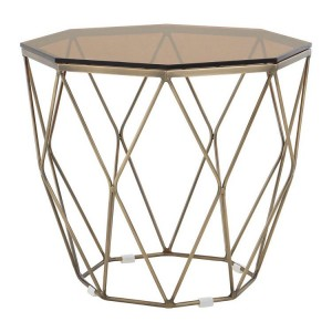 Allure Brushed Bronze Base and Glass Top End Table