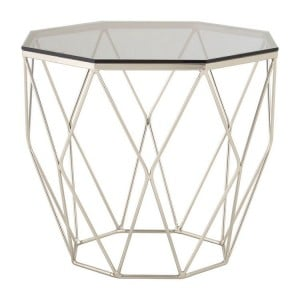 Allure Brushed Nickel Base and Glass End Table