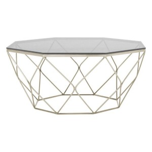 Allure Brushed Nickel Base and Semi Grey Glass Coffee Table