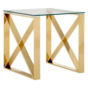 Allure Champagne Gold Metal and Clear Glass End Table