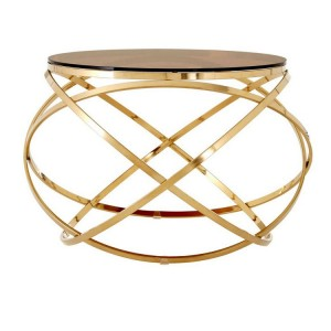 Allure Champagne Gold Metal and Red Tint Glass End Table