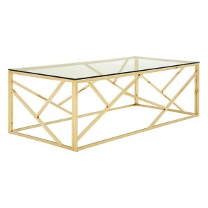 Allure Champagne Gold and Clear Glass Geometric Coffee Table