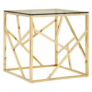 Allure Champagne Gold and Clear Glass Geometric End Table