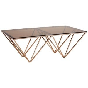 Allure Champagne Metal Legs and Red Tint Glass Coffee Table