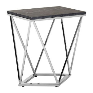 Allure Chrome Metal and Black Marble End Table