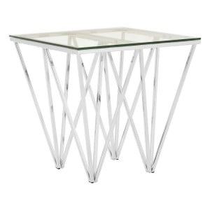 Allure Chrome and Tempered Glass Triangular Base End Table