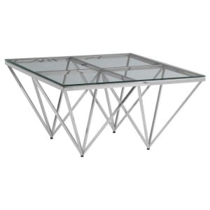 Allure Chromed Metal Spike Base and Clear Glass Coffee Table